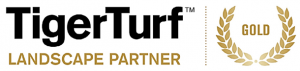 Black writing TigerTurf and gold writing Landscape Partner with gold emblem